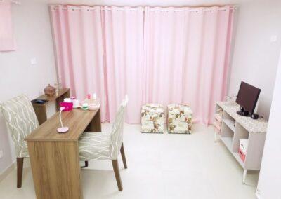 Ambiente confortável do salão de beleza Val Rechia